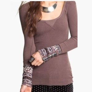Free People Hyperactive Cuff Thermal Mocha M